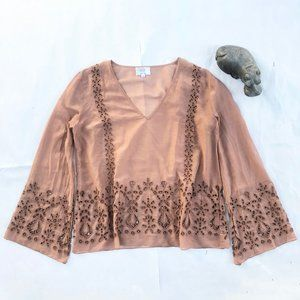 Johnny Was Jade Colette Eyelet Blouse Dusty Rose